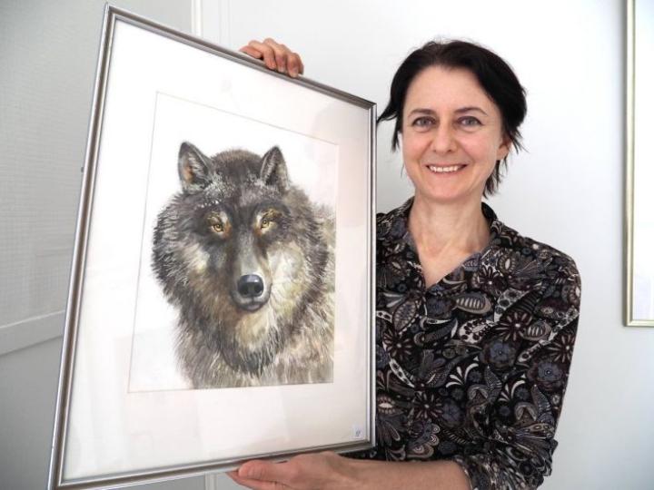 Olga Veselovskaja vierailee paraikaa residenssissä ja pitää näyttelyä Kesälahden Sovintolassa.