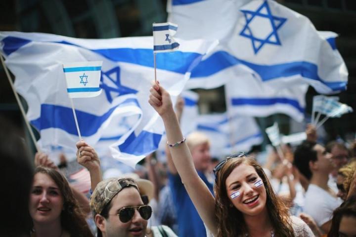Yhdysvaltain Chicagossa osoitettiin mieltä Israelin puolesta heinäkuussa 2014. LEHTIKUVA/AFP