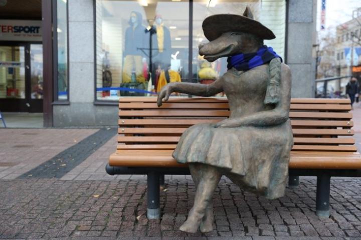 Naishahmoinen susipatsas ilmestyi Joensuun kävelykadulle torstaina. Heti aamun aikana joku ohikulkija oli pukenut patsaalle kaulaliinan.