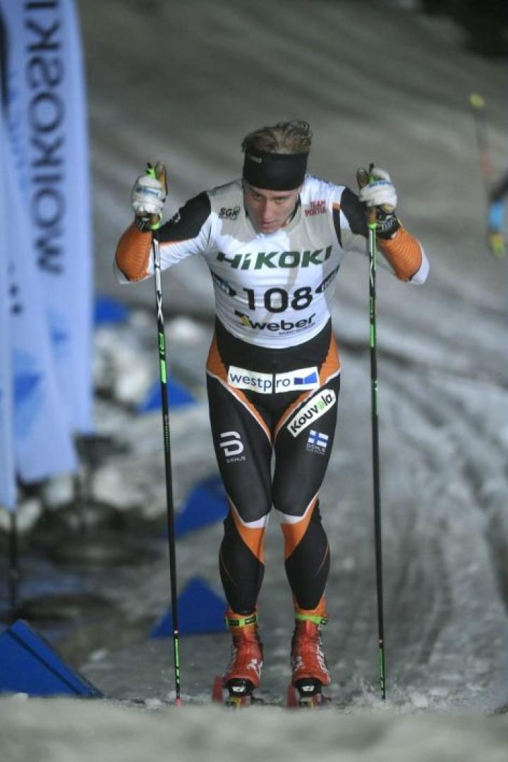 Lauri Lepistö (kuvassa) oli selkeä ykkönen, sillä toiseksi tullut Jämin Jänteen Ristomatti Hakola jäi hänestä peräti 16,9 sekuntia. LEHTIKUVA / Markku Ulander