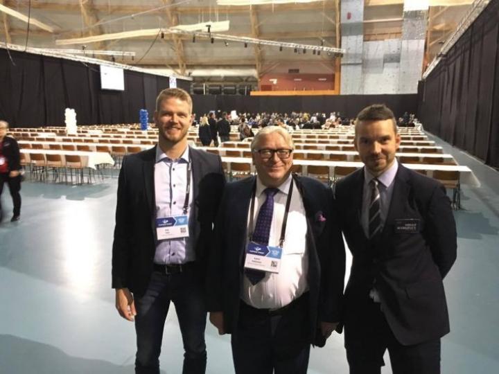 Yrittäjäpäiville osallistuvat myös Joensuun Yrittäjien toiminnanjohtaja Riku Tapio (vas.) ja Joensuun kaupungin elinkeinojohtaja Mikko Härkönen.